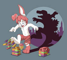 Godzilla Bunny by pandapaco