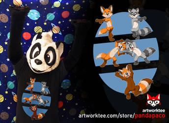 Fusion (Fox + Raccoon = Red Panda) T-shirt by pandapaco