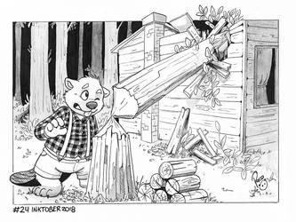 NSFW #Inktober2018 Day 24: Lumberjack by pandapaco