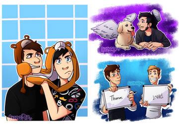 Dan n Phil, Mark n Chica and Thomas n Paint! by aileenarip
