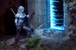 Ciri stepping into the portal by Juriet
