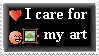 I care for my art Stamp by AngelShizuka
