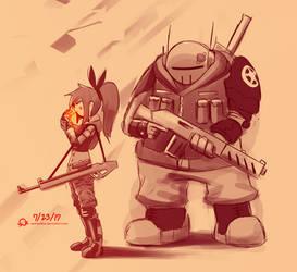 Aiko and Grim by SentientLine