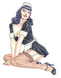 French Maid pinup by torenatkinson