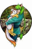 hug your puppy - color by Kiiro-chan