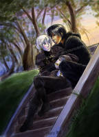 stair at twilight - color by Kiiro-chan