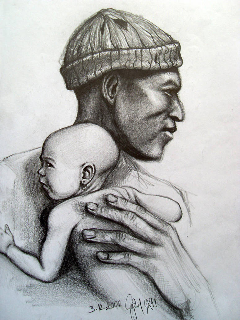 African father and son art pencil drawing 2002 by caginoz