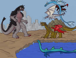Dragons vs. Kaiju by EricMHE