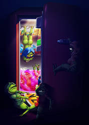 Night time fridge raid by Lazy-a-Ile
