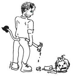 Demon Dean with pumpkin by MJNL by MJNLostetter