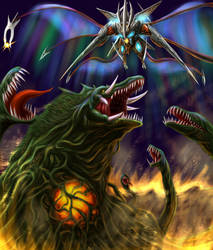 Biollante vs Iris by Inosuke-0101