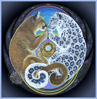 Gemini Dream ~ Mountain Lion Snow Leopard Lovers by ssantara