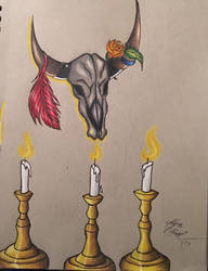 Cow Skull and Candle Light by Enerdyte