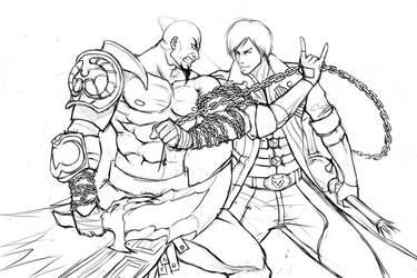 Dante vs Kratos - Sketch by Ninjatic