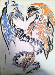 dragon and phoenix tribal art design by TheRainbowApocalypse