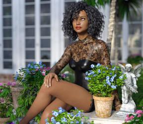 Christina in the garden by Vizzee