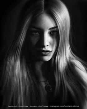 Lena - Black and White Portrait by Vizzee