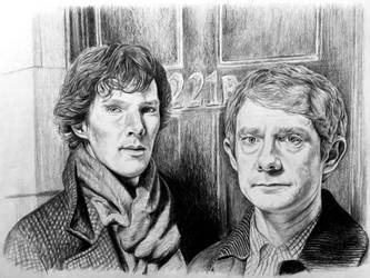 Sherlock Holmes and Dr. Watson by mslaurnq