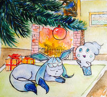 January: Glaceon and Vanillite by NorthernLantern