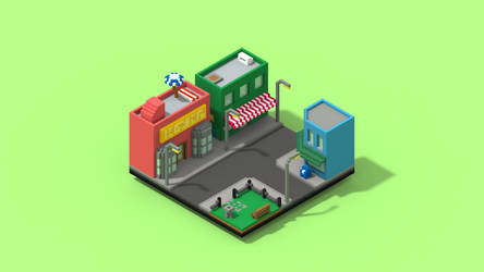 City Isometric Wallpaper by Niko1U