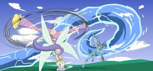 Art Trade: Kazemon vs Ranamon by Yojama