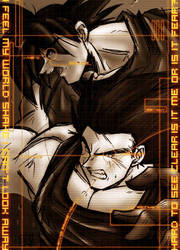 Goku and Vegeta in Duotone by syphonfx