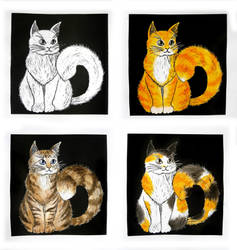 Four Fat Cats - linocut + acrylic paint by Jakly