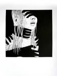 Darkness - linocut by Jakly
