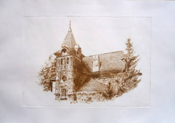 Villa - drypoint by Jakly