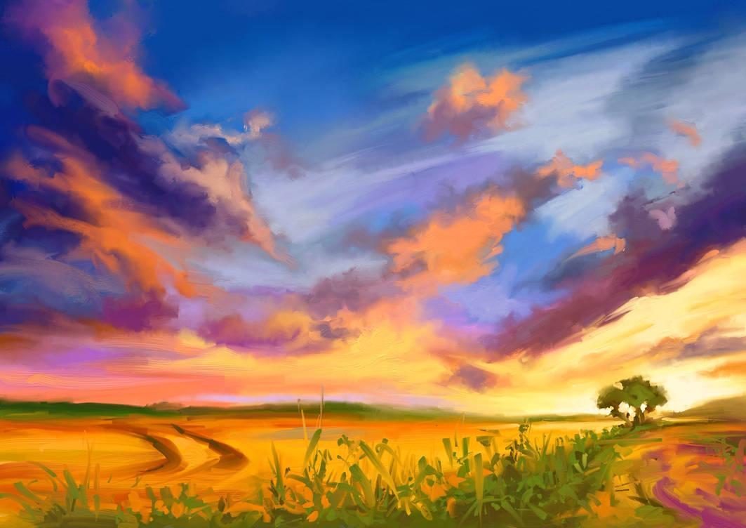 Field sunset by Mishelangello