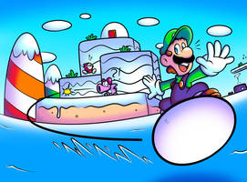 SMB2USA - Egg Surfing Luigi by JamesmanTheRegenold