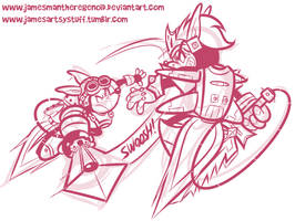 Sparkster vs Axel Gear Sketch by JamesmanTheRegenold