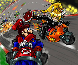 Out of Bowsette's way!! by LupiNocte