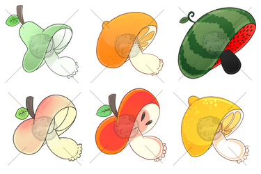 Sticker batch #2 -All the fruitshrooms by Tomthebaker
