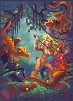 Cavegirl vs raptors by victorroa