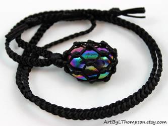 Black Satin Cord Wrapped Titanium Quartz Necklace by ArtByLThompson