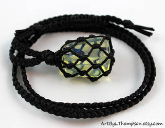 Black Satin Cord Wrapped Yellow Obsidian Necklace by ArtByLThompson