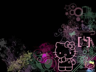 hello kitty background by schizoidsunshine