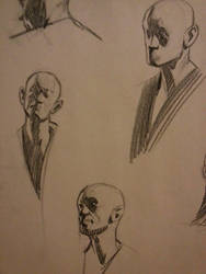 Quick pose head drawing.  5 min and 10min by FUNKYMONKEY1945