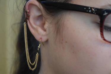 Gold Chain Dangle Steampunk Earrings by Gossamier