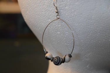 Black and White Dangle Hoop Earrings by Gossamier