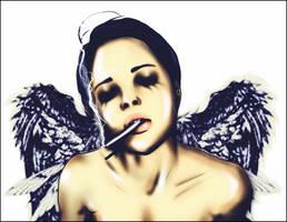 Smoker Angel by GABRIELAGOGONEA