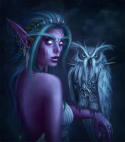 Tyrande, the High Priestess of Elune by the-unilluminated