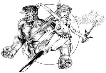 Sailor Moon and the Hulk by mallaard