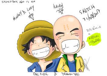 Luffy and Kuririn by thr2e