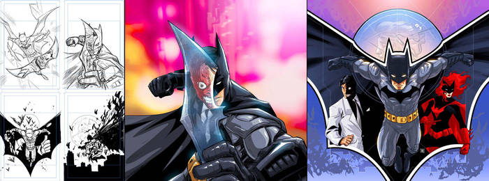 BATMAN AND BATWOMAN V TWO FACE by deemonproductions