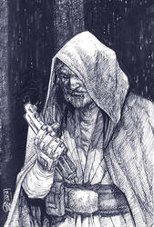 Crosshatchstudy4 Old man luke by deemonproductions