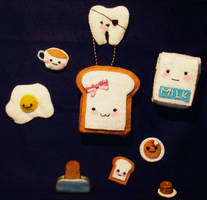Breakfast Plushies And Fimos by HateSong