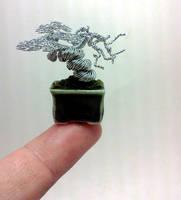 Micro-sized wire bonsai sculpture by KenToArt