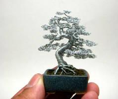 Wire bonsai sculpture by KenToArt